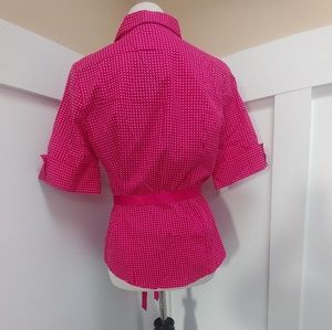Antilia Femme Tops - Hot Pink & Polka Dot Button Up w/ Satin Ribbon